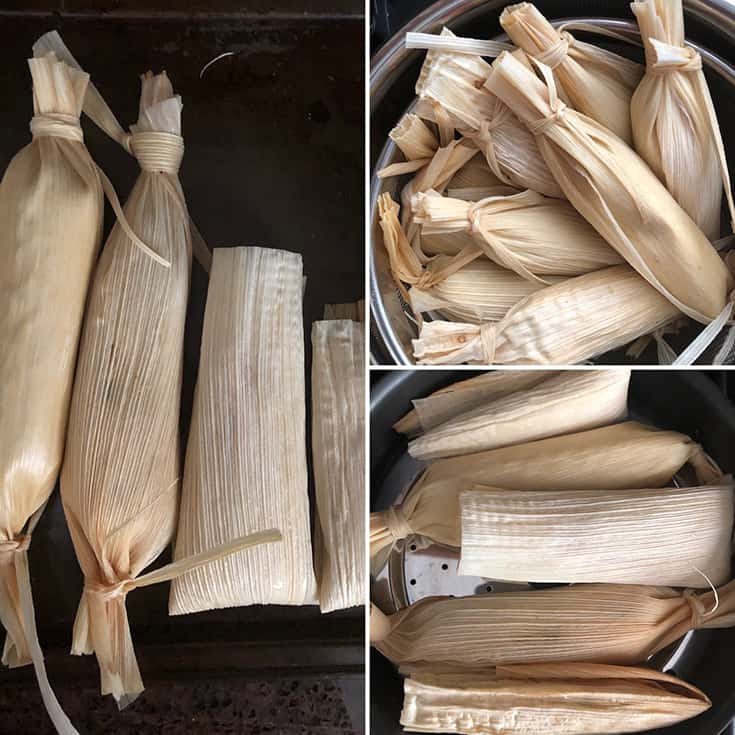 Prepared tamale placed in Instant pot and steamer