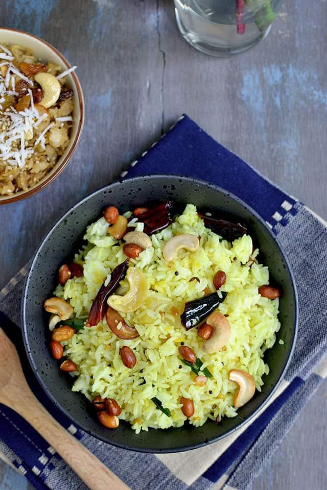 Bowl of Chitrannam with cashews