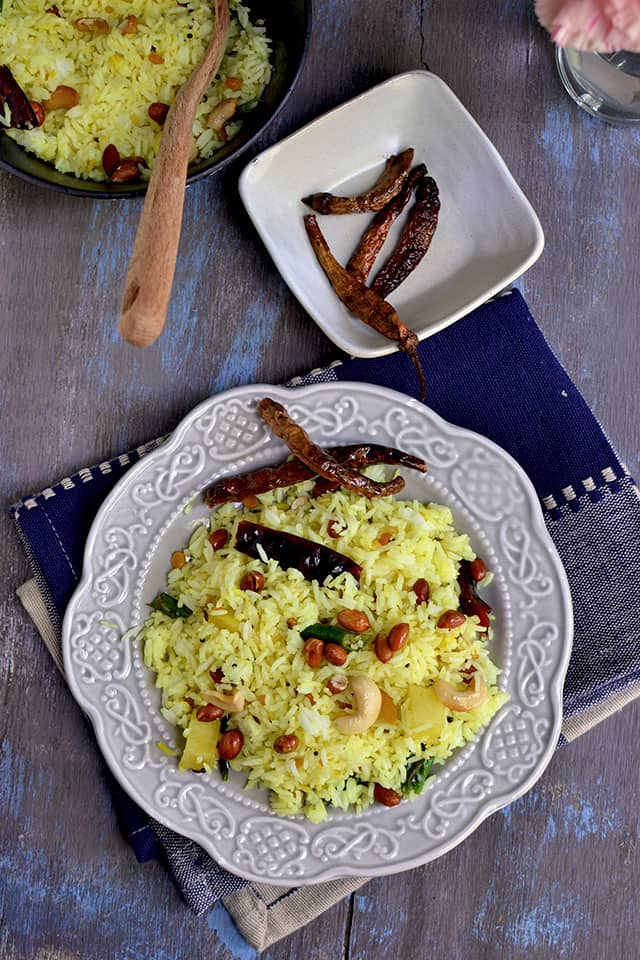 Plate with Lemon rice and crispies
