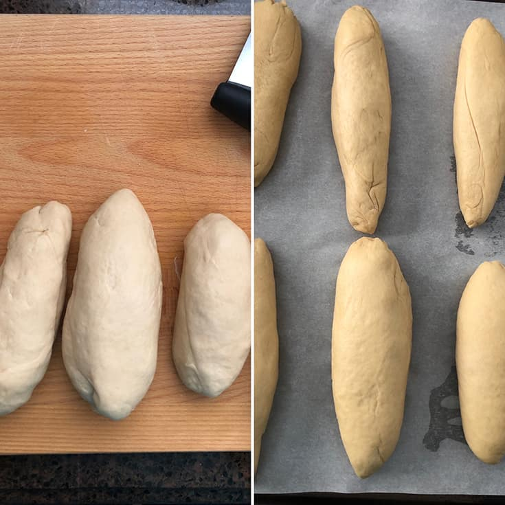 Forming the dough into small rolls