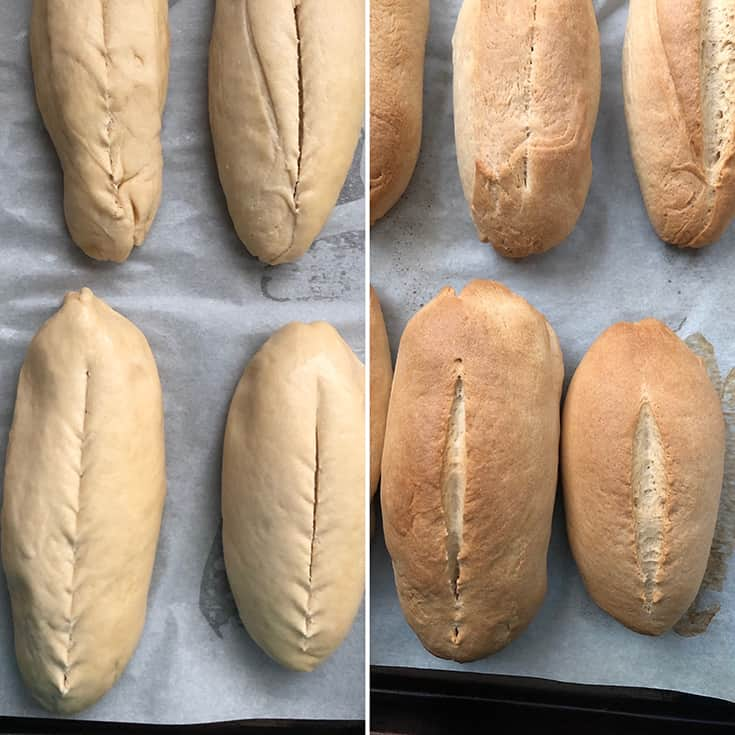 Cuban rolls Before and after baking