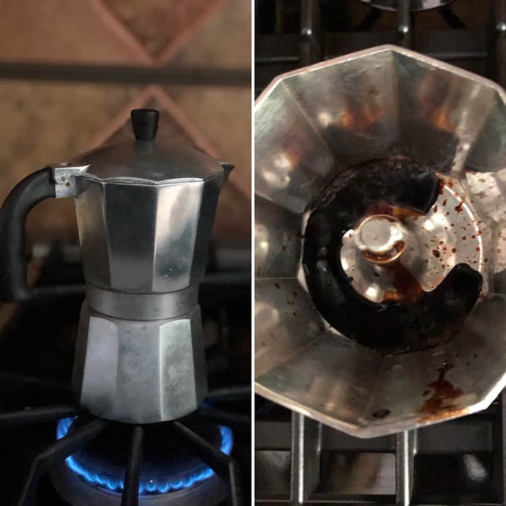 Photo of stove top espresso machine and coffee percolating