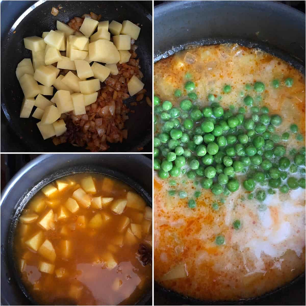Adding potatoes, water and peas to the pan