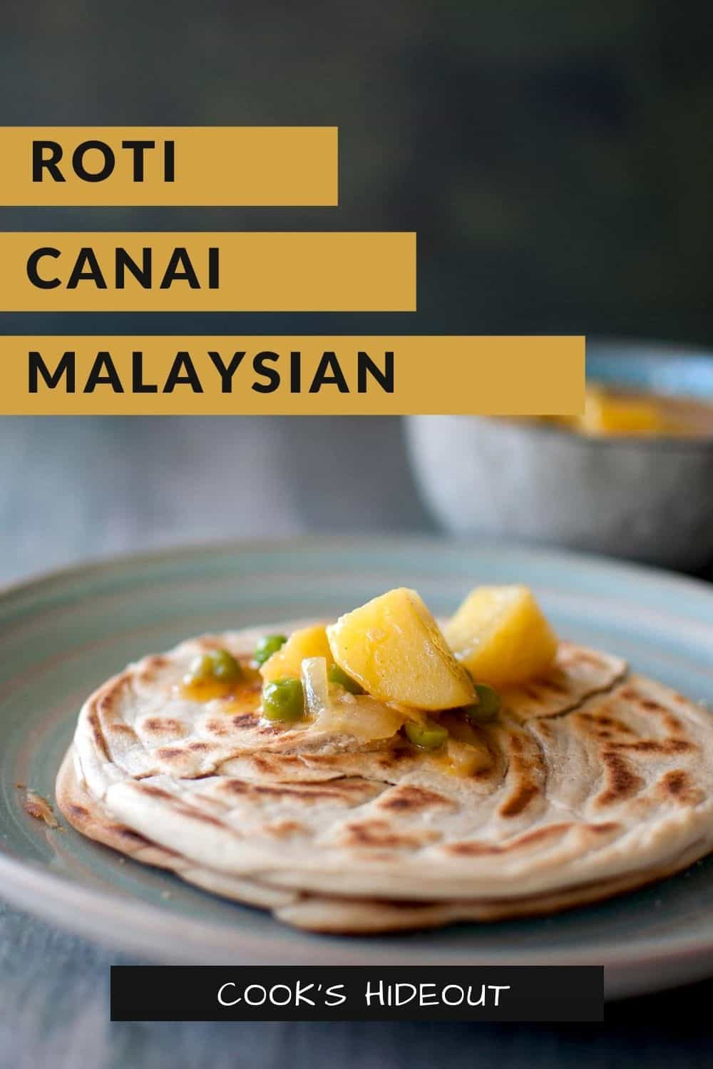 Blue plate with a plate of roti canai topped with potato curry sauce