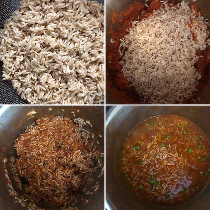 Step by step photos showing brown rice being added to the instant pot