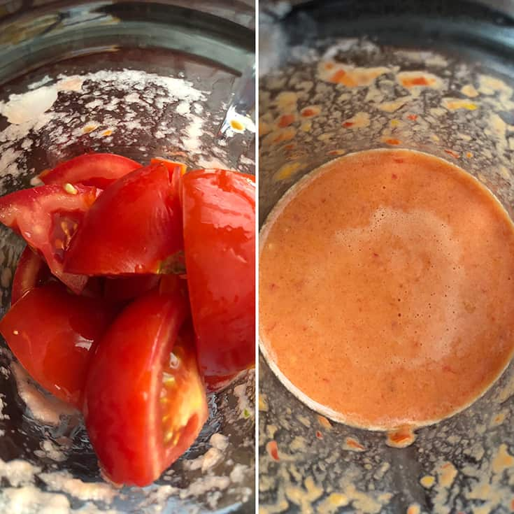 Side by side photos showing the making of tomato mixture