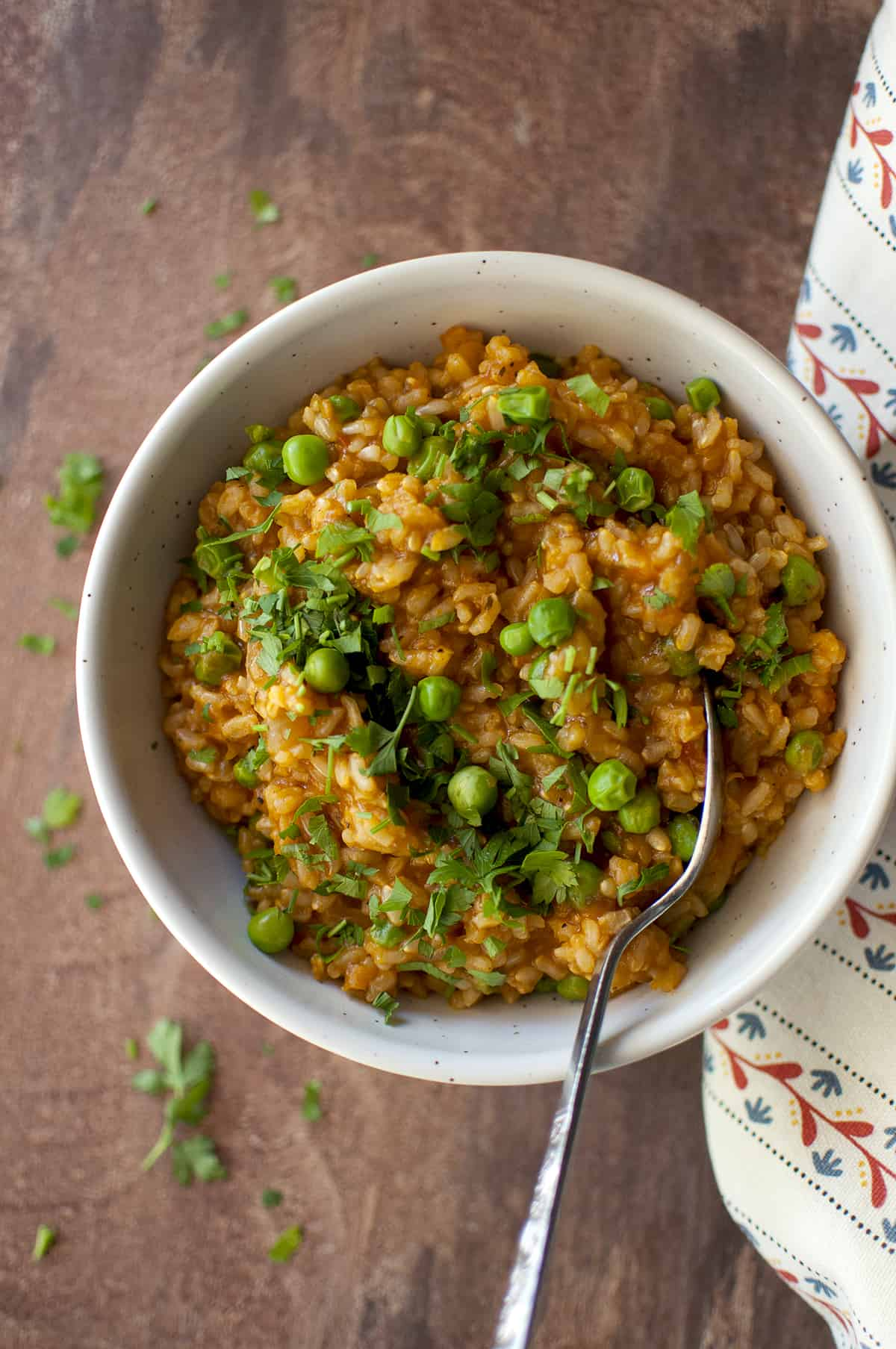 Grey bowl with Jollof rice