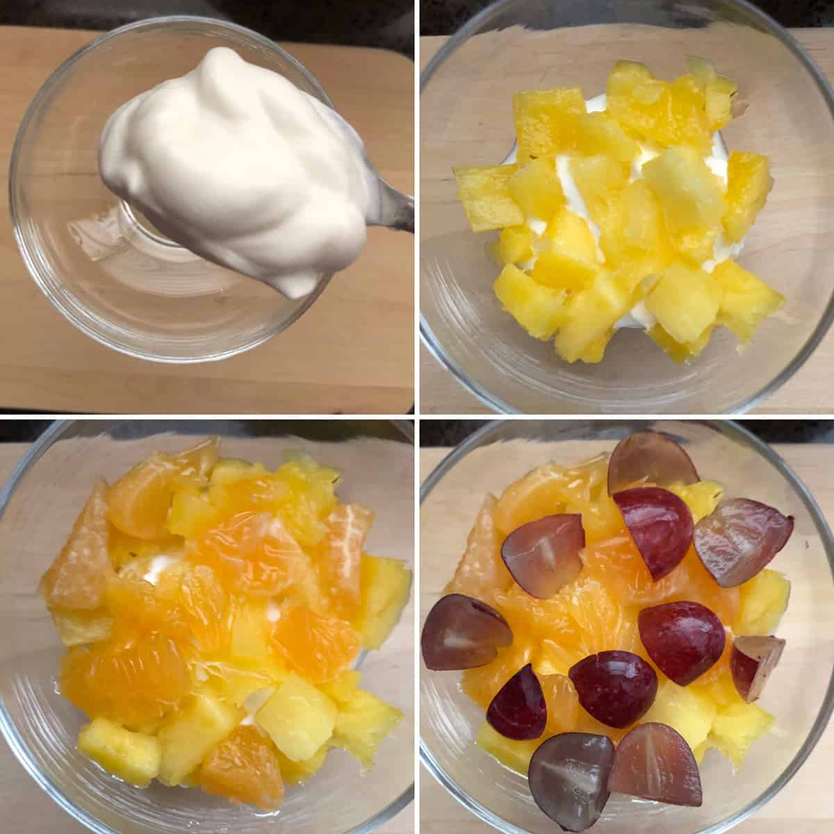 Step by step photos showing the building of Ambrosia salad parfait