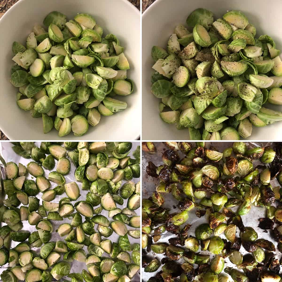 Trimmed prepped sprouts before and after roasting