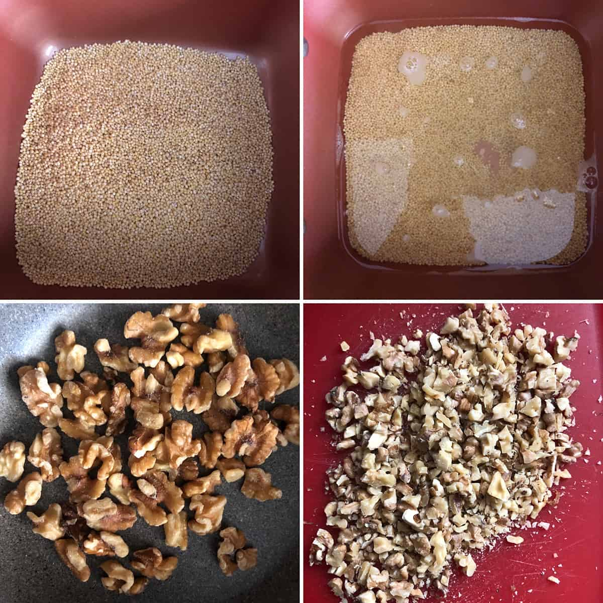 Toasted millet being cooked in water and toasted and chopped walnuts