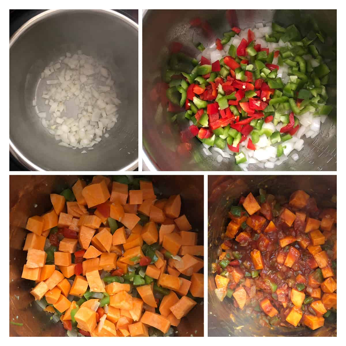 Step by step photos showing sautéing of onions, peppers, sweet potatoes and tomato puree