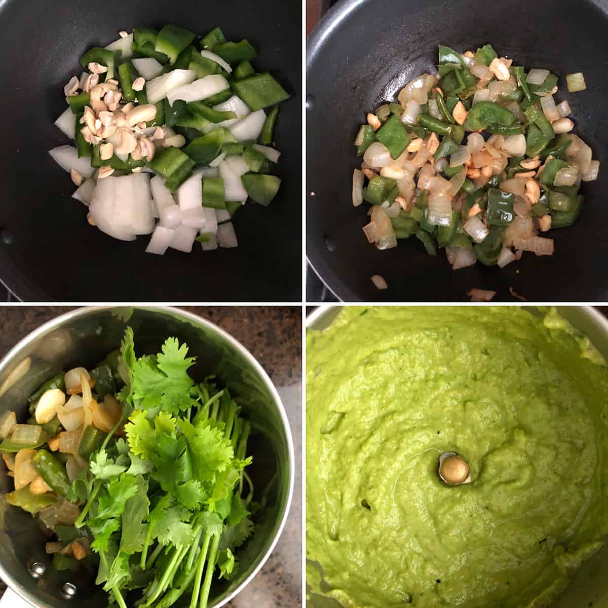 Photos showing the green masala ingredients being sauteed and ground to a paste
