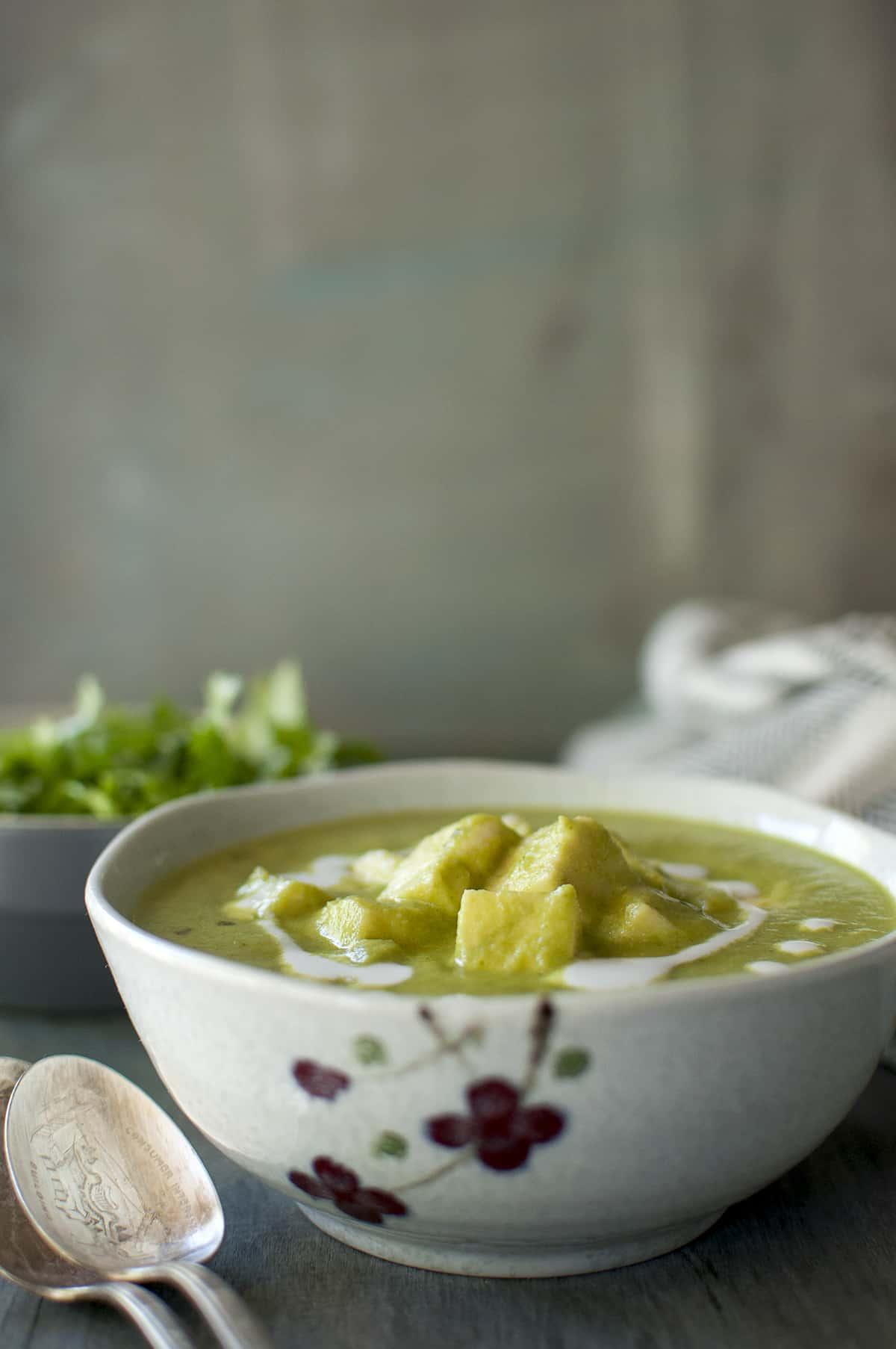 Grey printed bowl with hara paneer masala