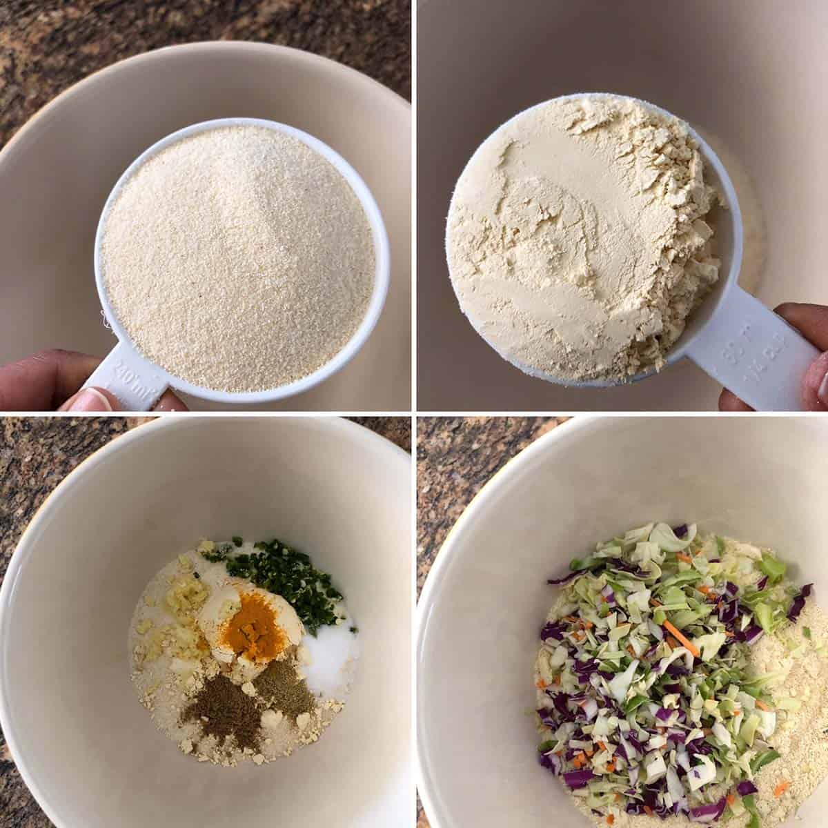 Photos of sooji/ semolina flour, besan, spices and chopped veggies