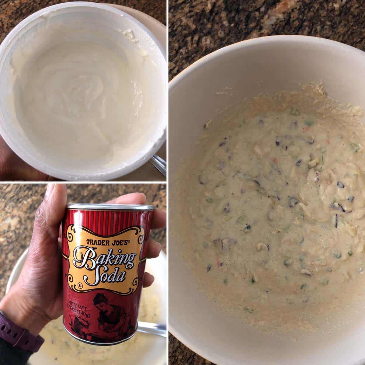 Photos of yogurt, baking soda and batter for instant handvo