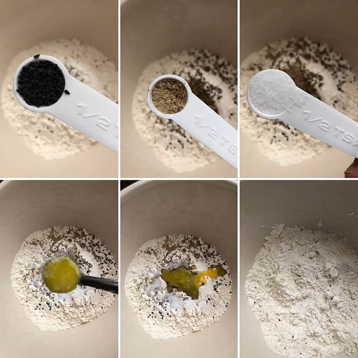 Step by step photos showing the addition of spices to the flour
