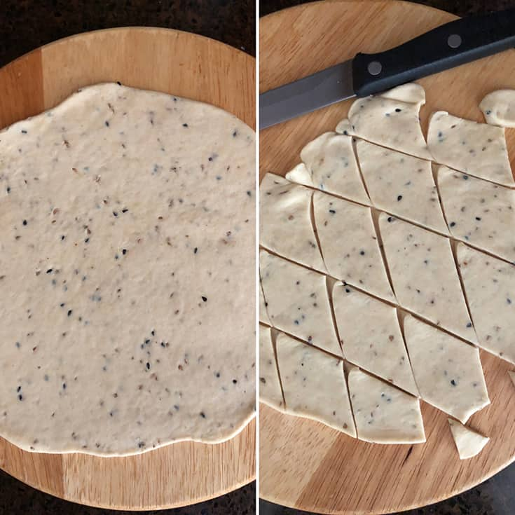 Side by side photos of rolled out dough and cut into chips