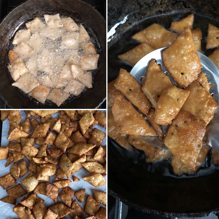 Side by side photos showing the frying of namak pare