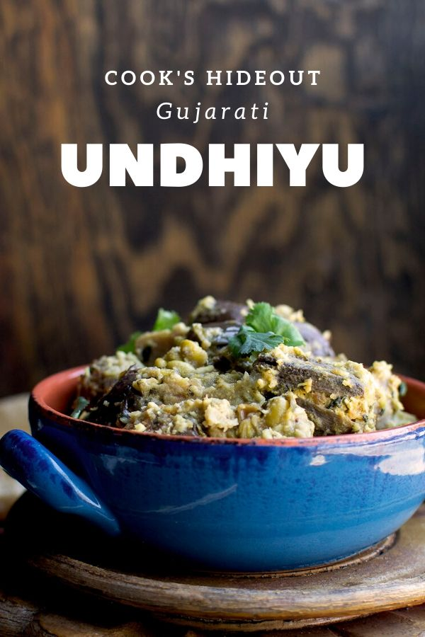 Blue bowl with Undhiyu