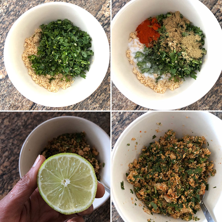 Step by step photos showing the making of masala for Gujarati curry
