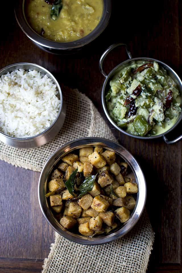 Kerala Vegetarian dishes - Yam Fry, Cucumber curry, Parippu and rice