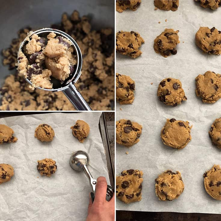Cookie batter being scooped onto baking sheet