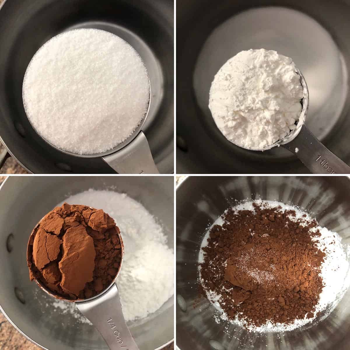Measuring cup holding white sugar, cornstarch, cocoa powder and a saucepan with dry ingredients