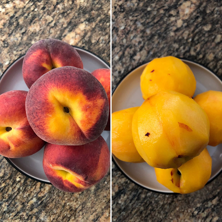 Photos of 5 peaches that are unpeeled and peeled in a white bowl