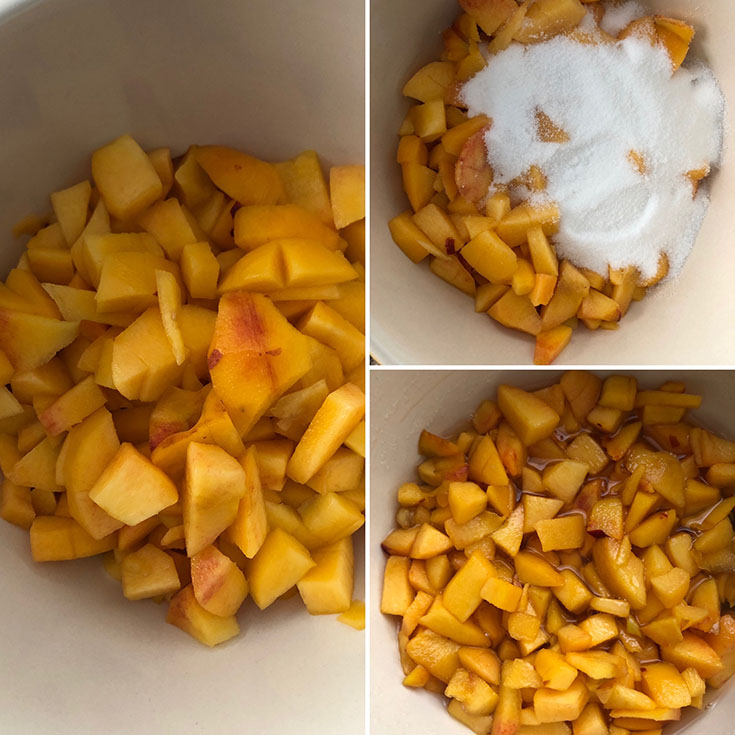 Step by step photos showing peeled and chopped peaches, adding sugar and macerated fruit after 1 hour