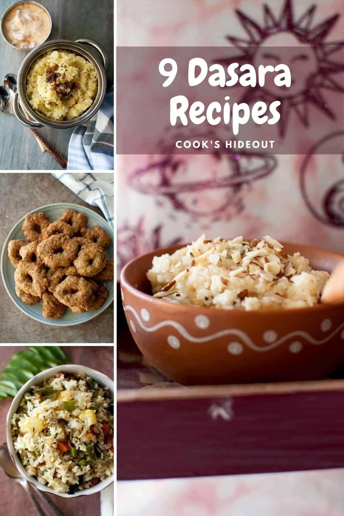 Dasara recipes in a collage - Pongal, Garelu, Vegetable rice and rava kesari