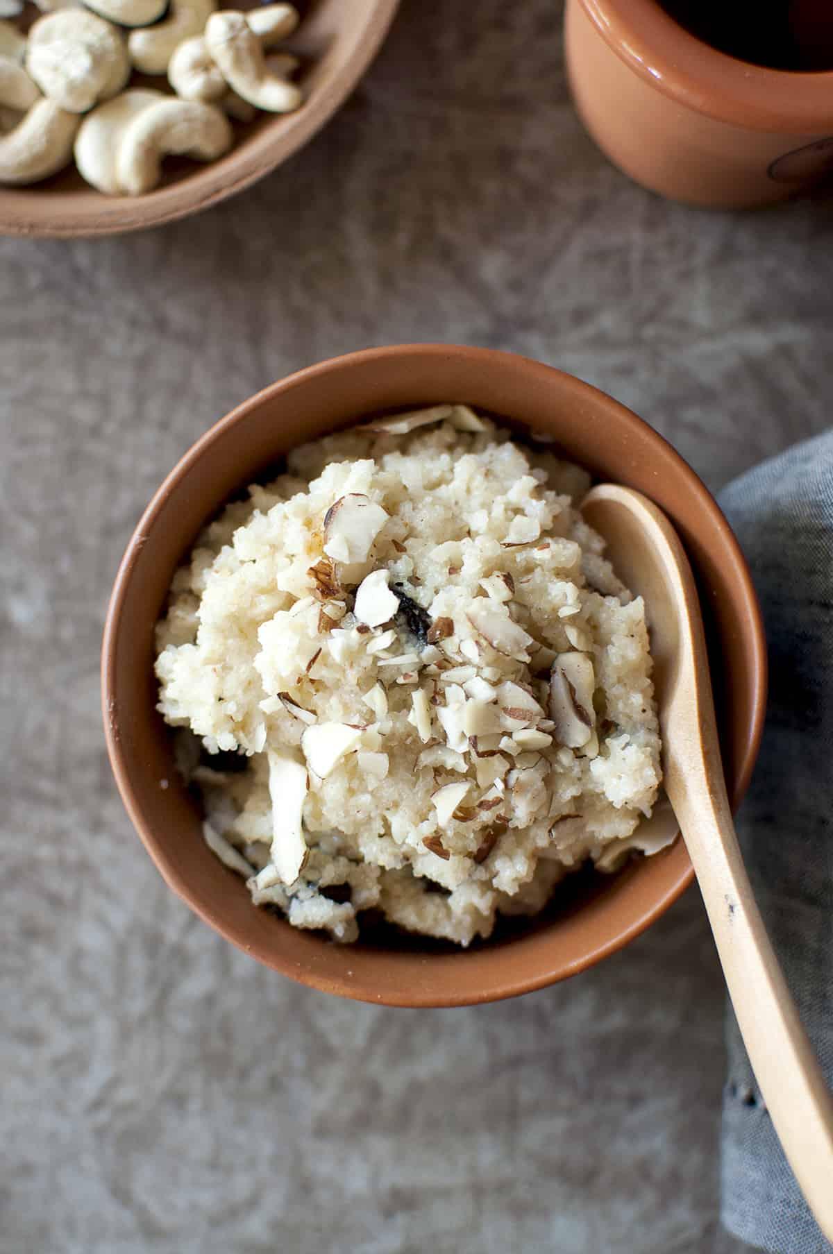 Dasara Recipe Rava Kesari served in Terracotta bowl