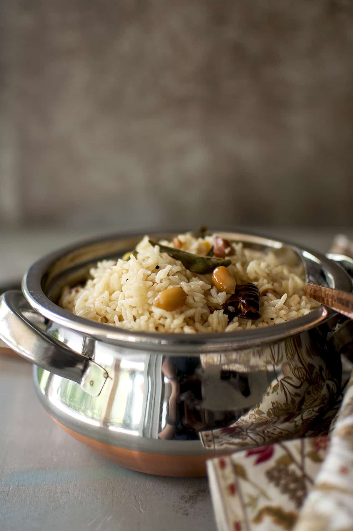 Steel bowl with tamarind rice