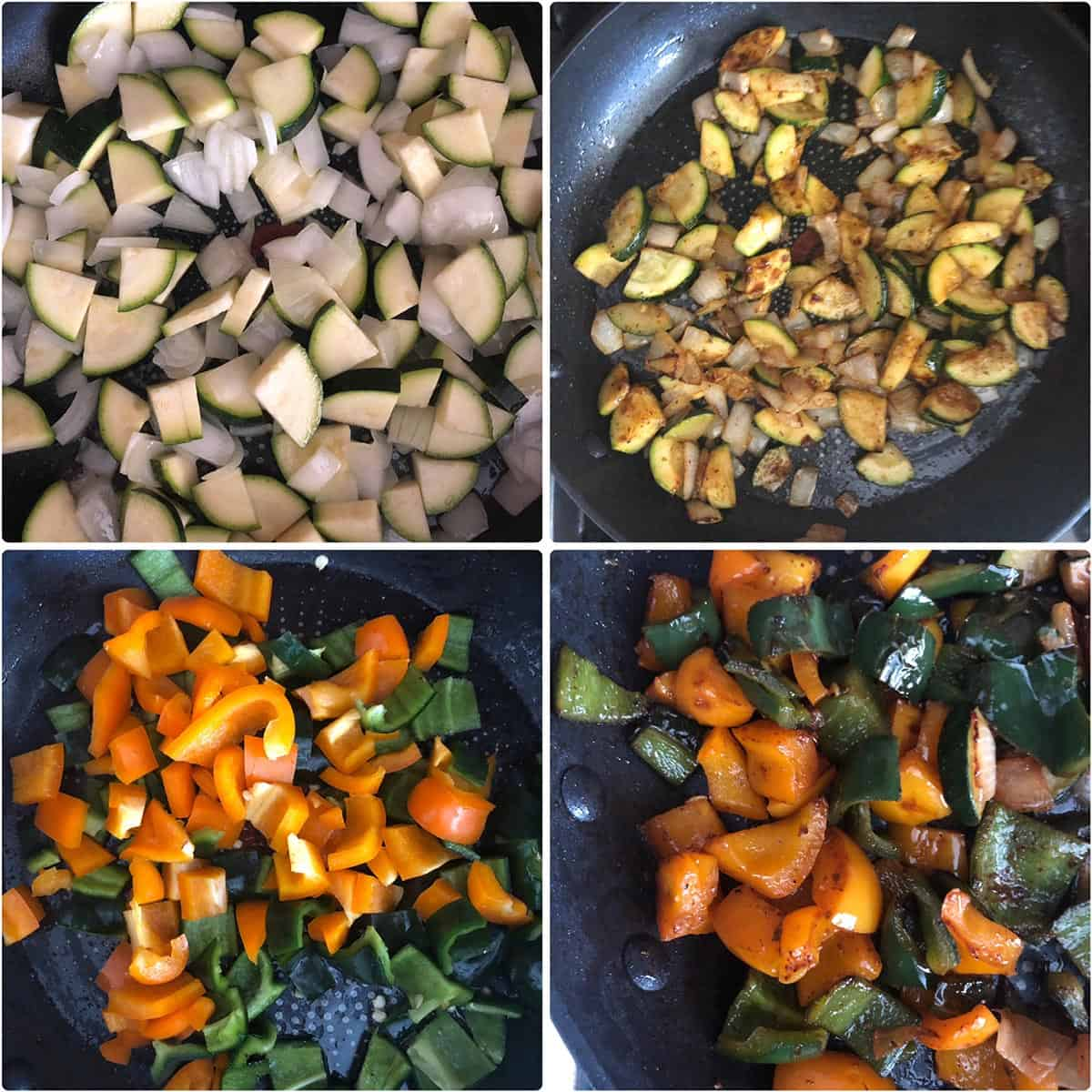 Photos of vegetables before and after sautéing