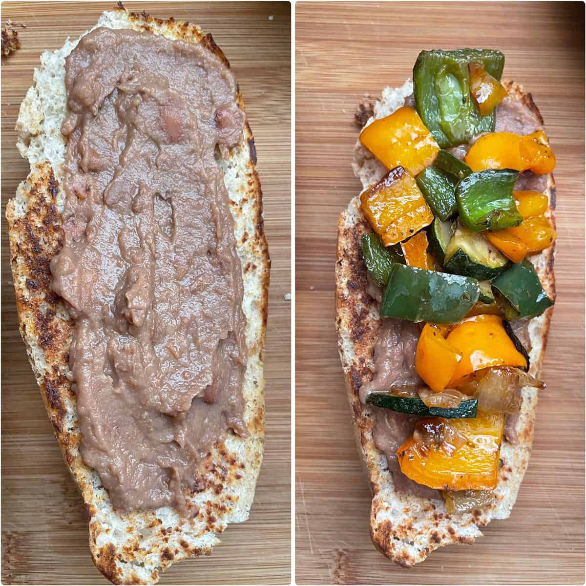 Bread Roll topped with refried beans and cooked vegetables