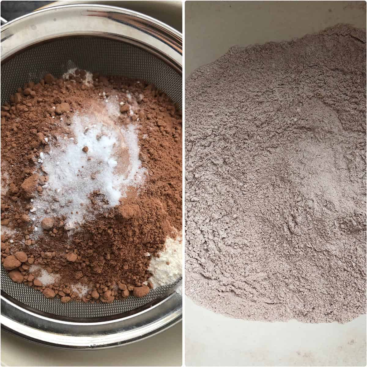 dry ingredients sifted into a large mixing bowl