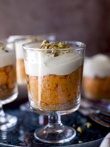 Individual no bake carrot halwa cheesecake