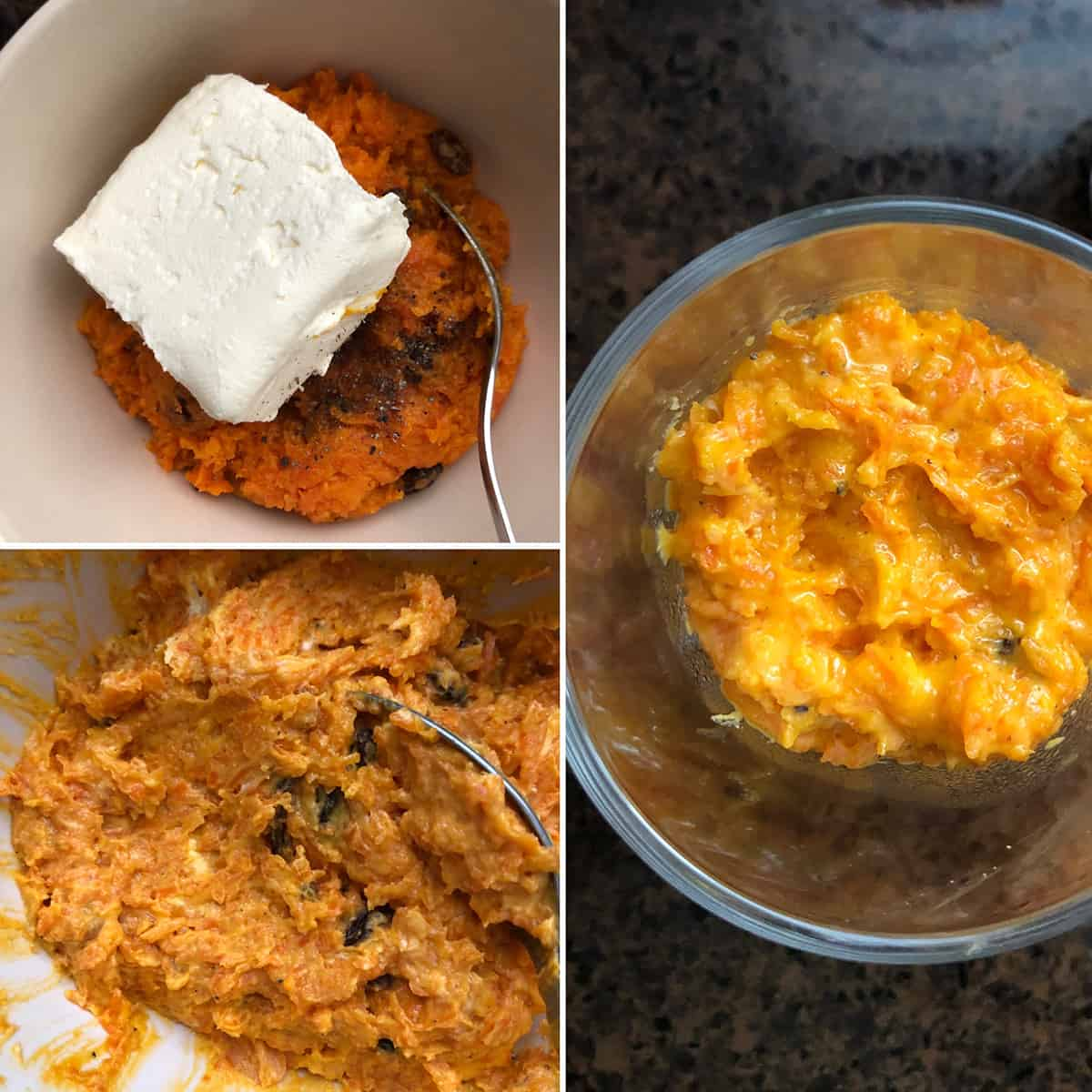 cream cheese added to carrot halwa and the mixture is layered in glasses