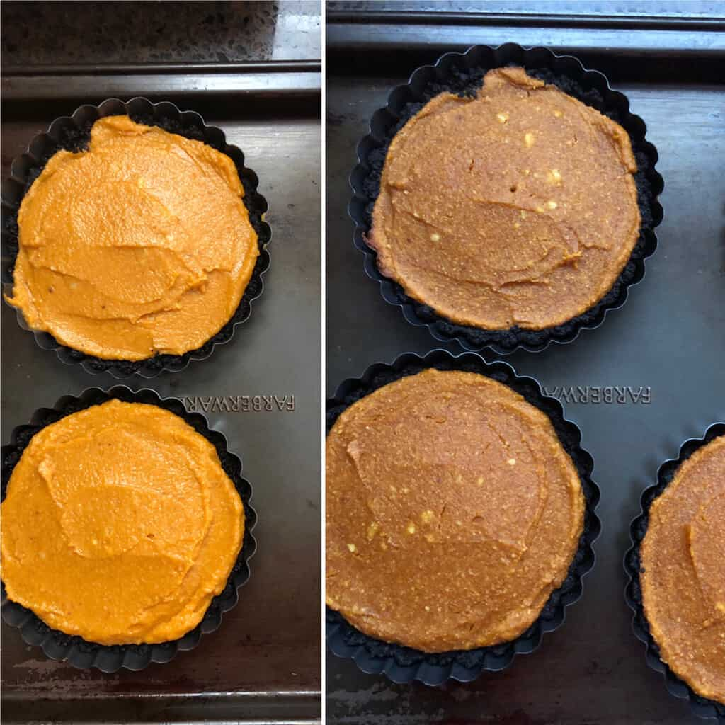 Mini pumpkin pies before and after photos