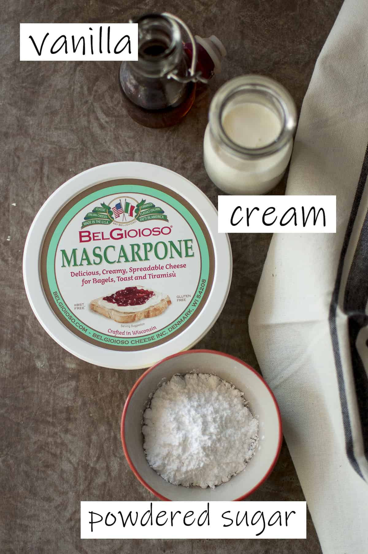 Ingredients for the cream filling