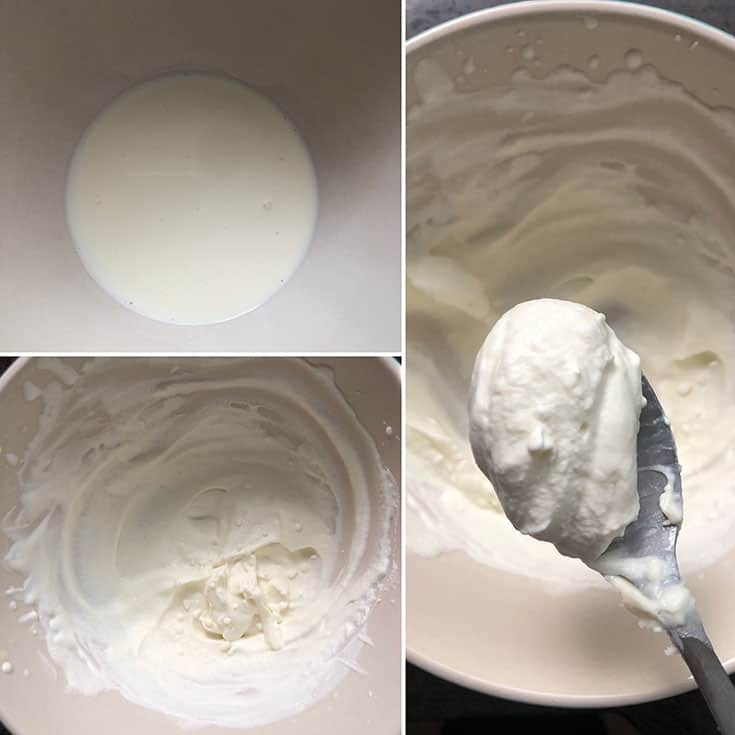 Photos showing heavy cream whipped until stiff peaks form