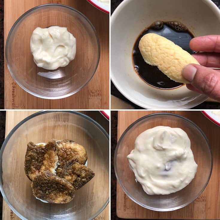 Step by step photos showing the making of tiramisu trifle