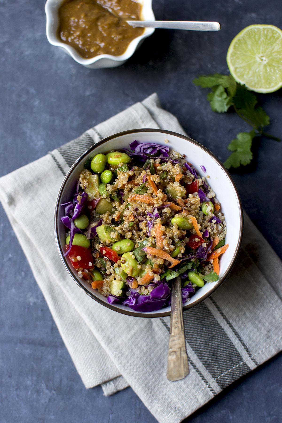 White bowl with Thai Quinoa salad