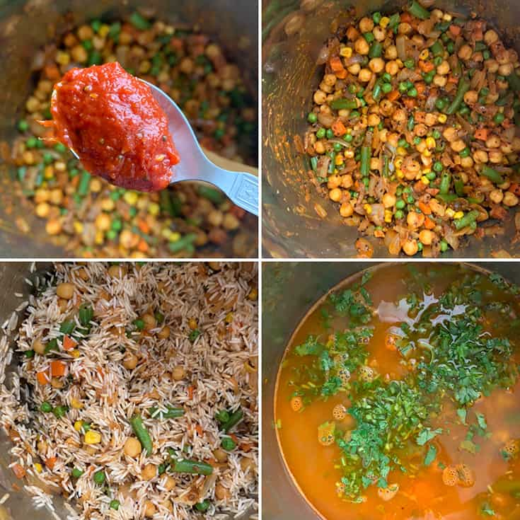 Step by step photos showing a spoon of tomato achar/ chutney being added to sauteed mixed veggies, then adding rice and water
