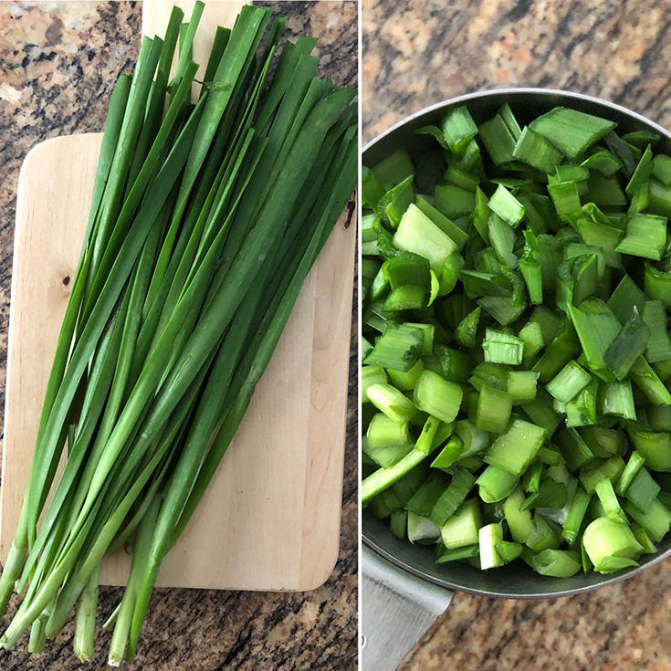 Side by side photos of fresh chives and chopped chives