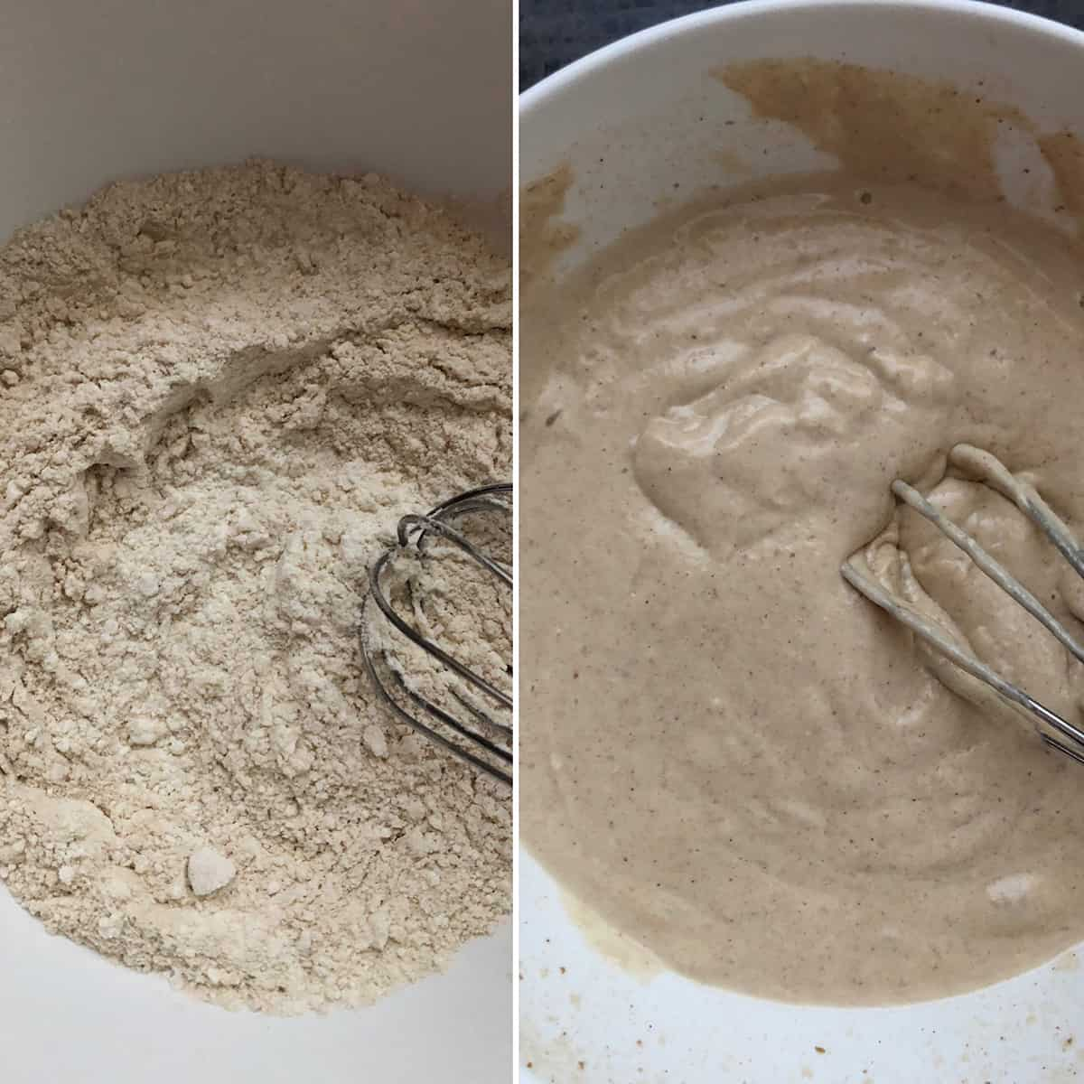 Side by side photos of dry ingredients and the batter