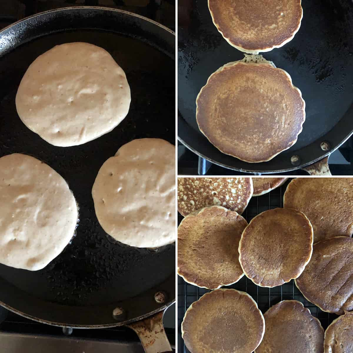 Side by side photos of making pancakes