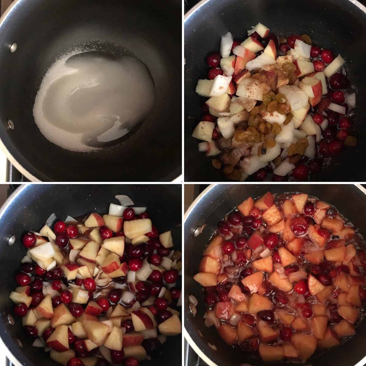 Step by step photos of making of cranberry apple chutney