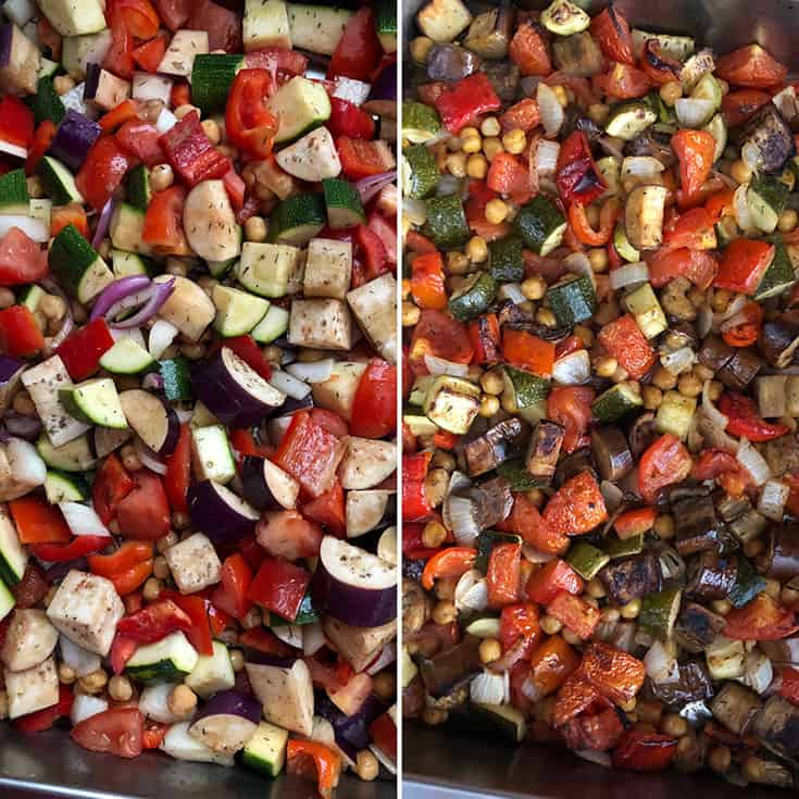 Side by side photos of veggies mixed with dressing and roasted veggies