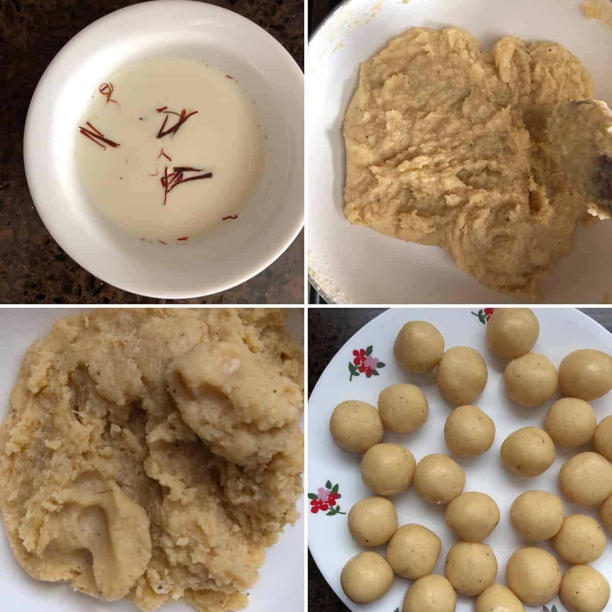 Photos showing the making of coconut malai ladoo