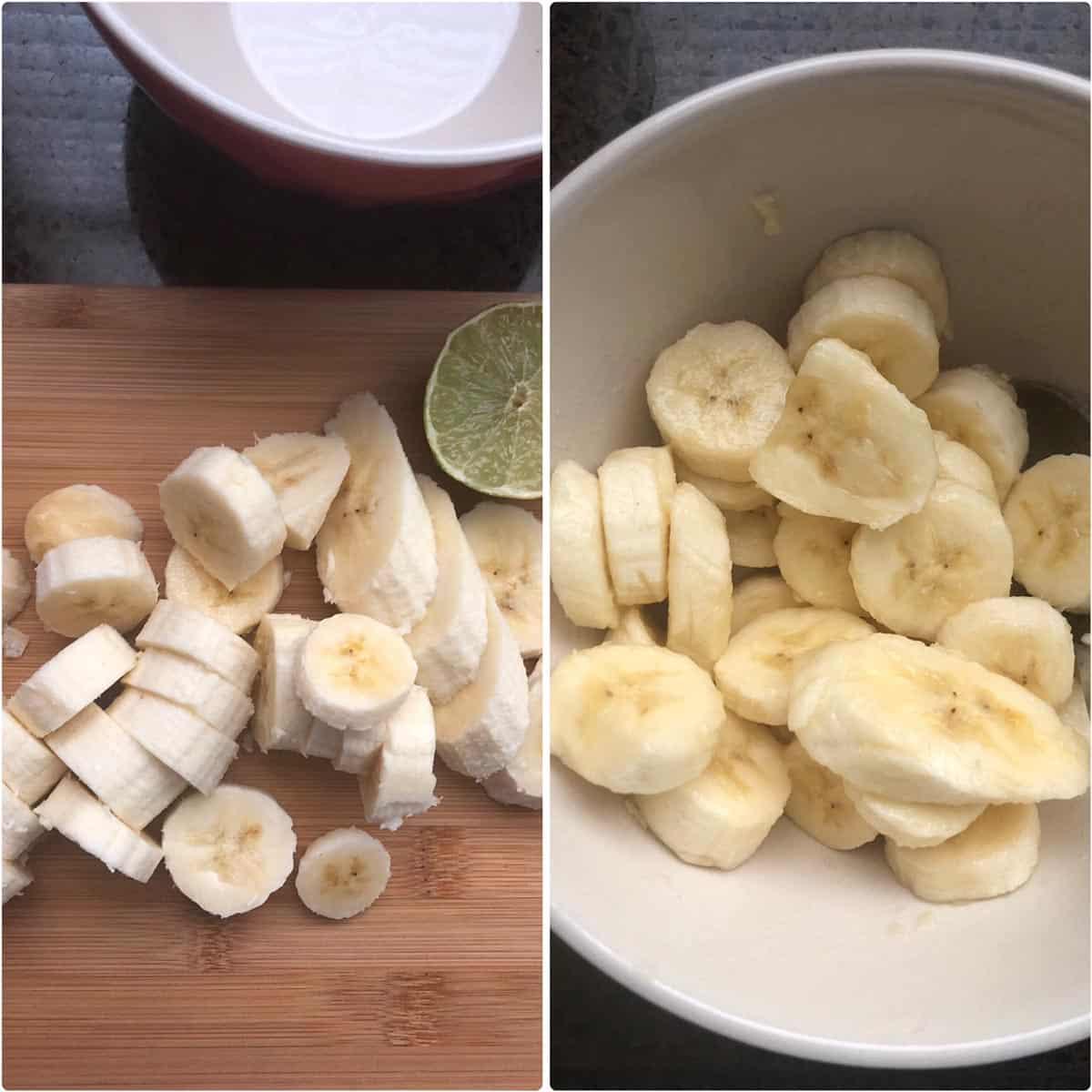 Chopped bananas tossed with lemon juice